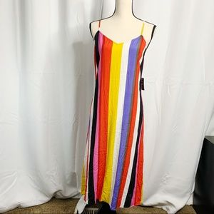 NEW Express multi colored rainbow striped dress S